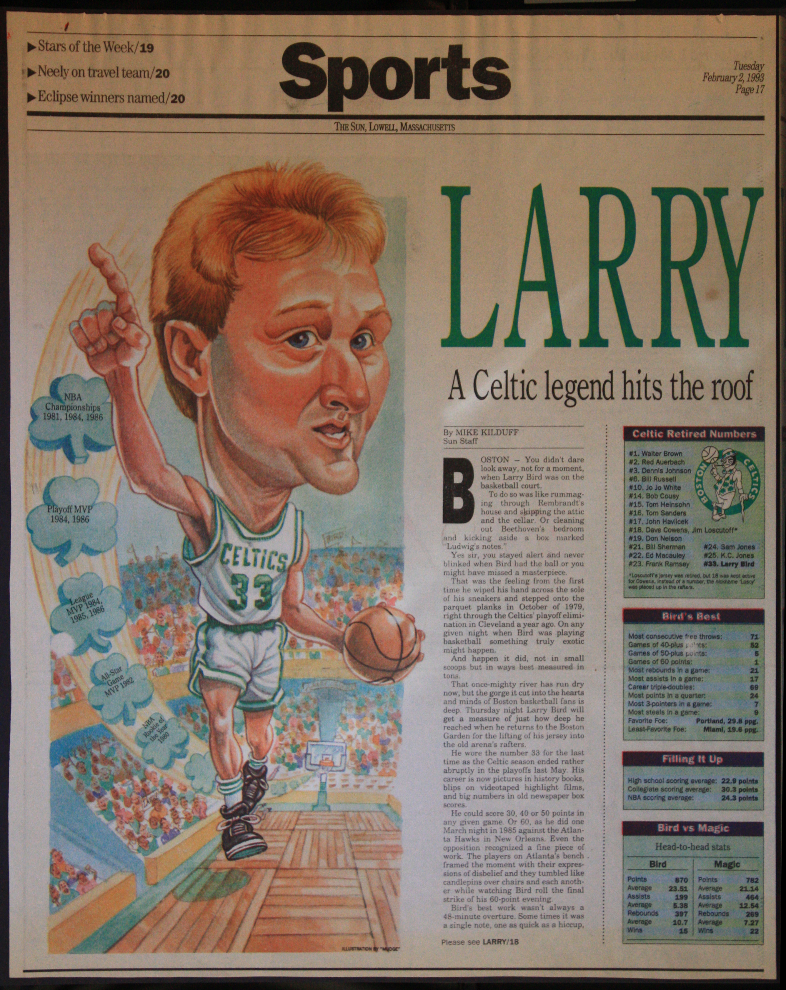 Vintage Larry Bird Newspaper Caricature.