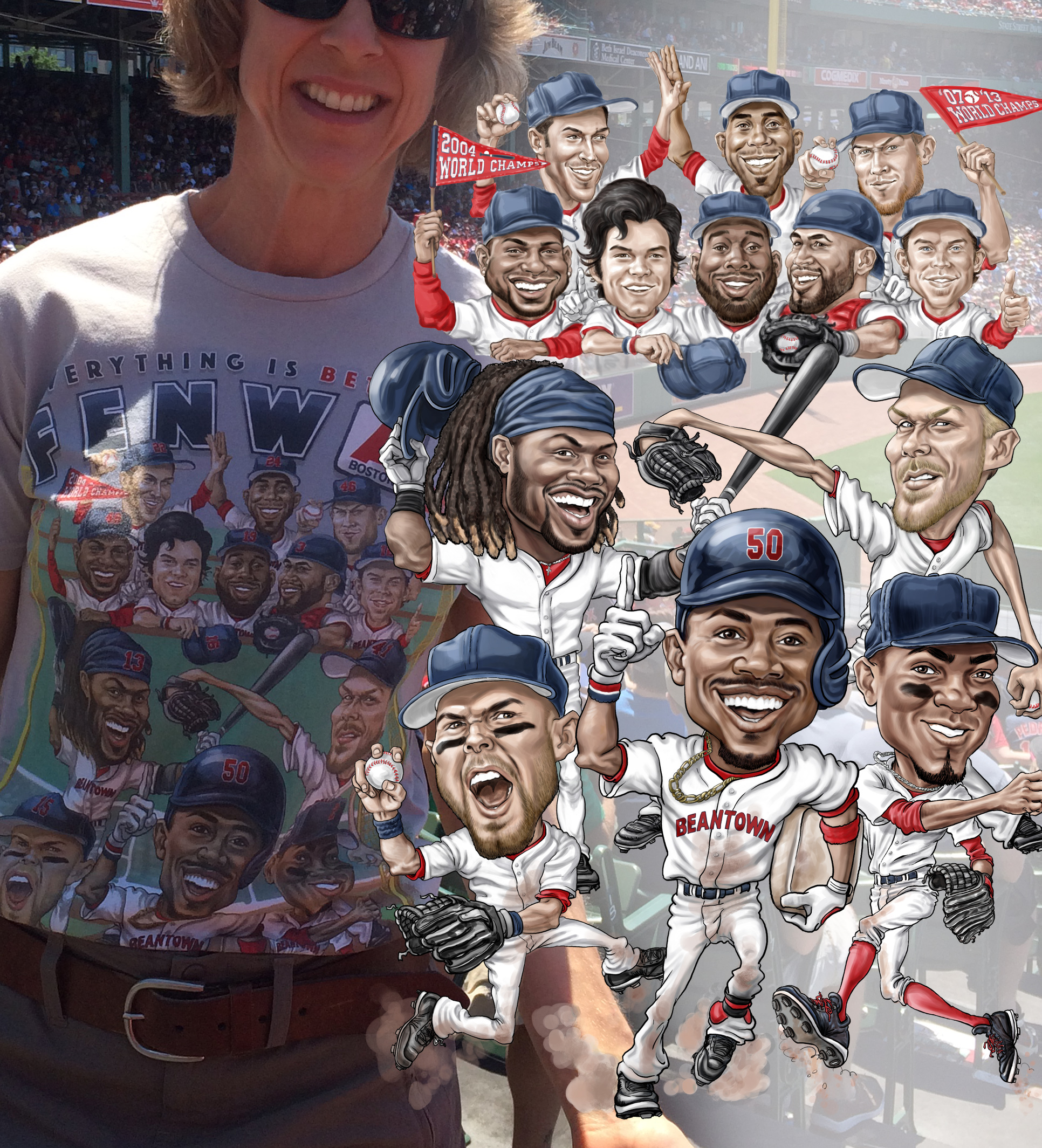 Everything is Bettah at Fenway Boston Red Sox Team Caricature